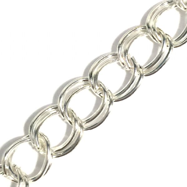 Silver plated double curb link chain 8mm - 1 metre